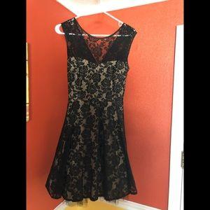 Black lace/cream under cocktail dress. Size 12